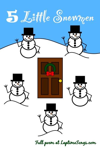 5 Little Snowmen Standing Round the Door