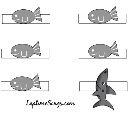 5 Little Fish finger puppet printable black and white version
