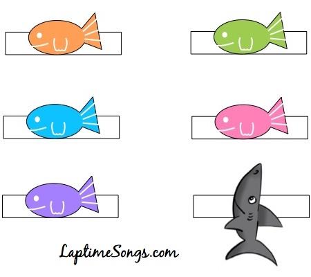 5 Little Fish finger puppet printable color version
